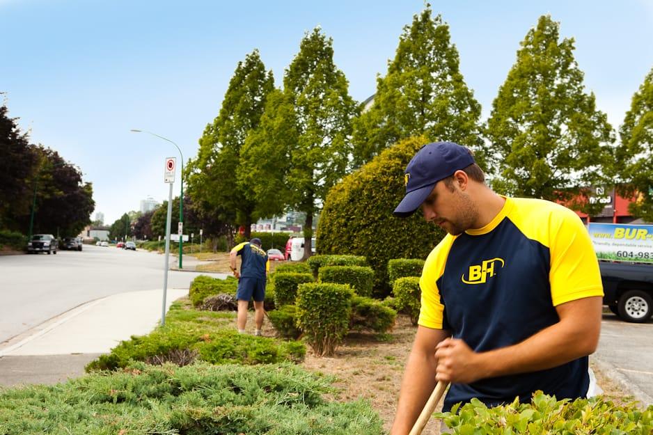 A garden landscape contractor working with his BUR-HAN uniform on