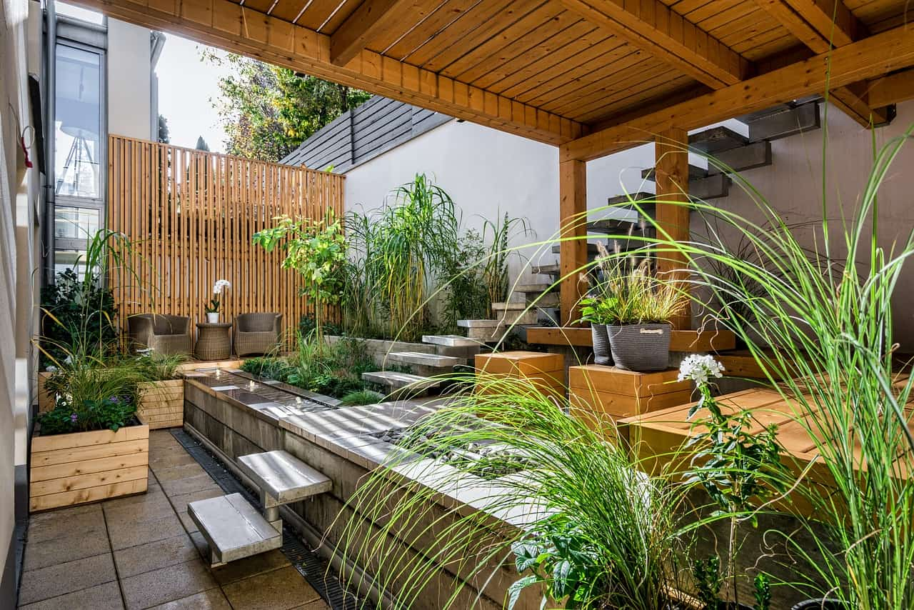 backyard landscape design completion