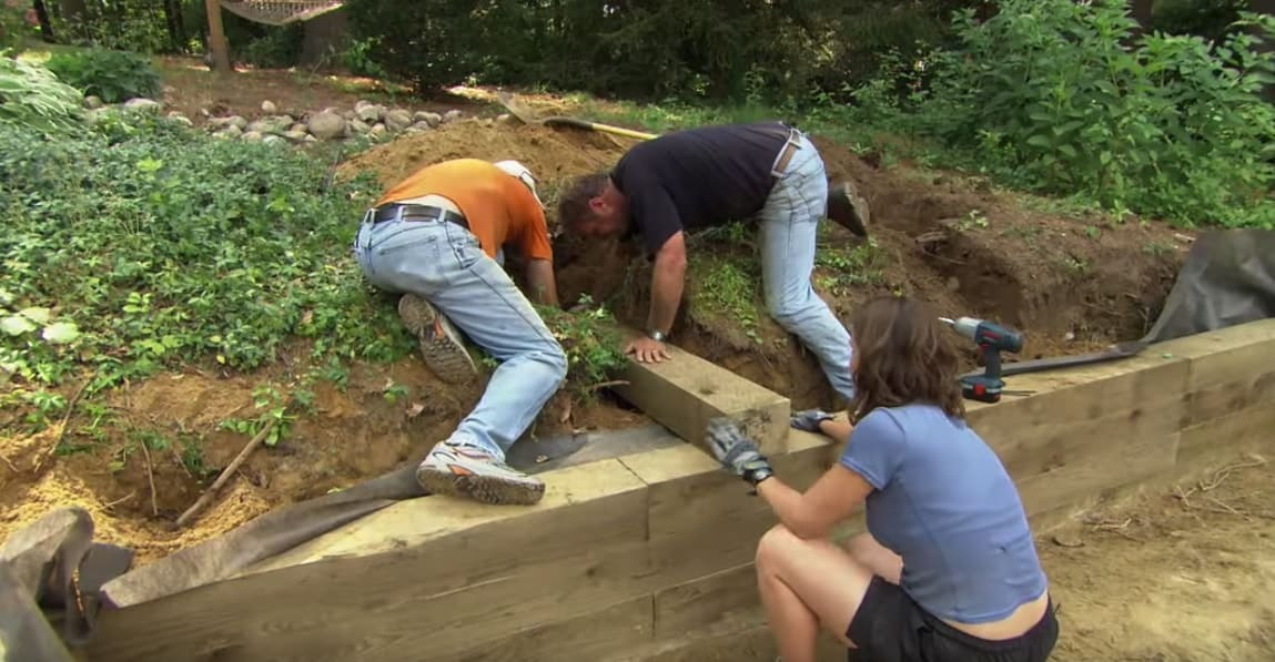 building a retaining wall with timber