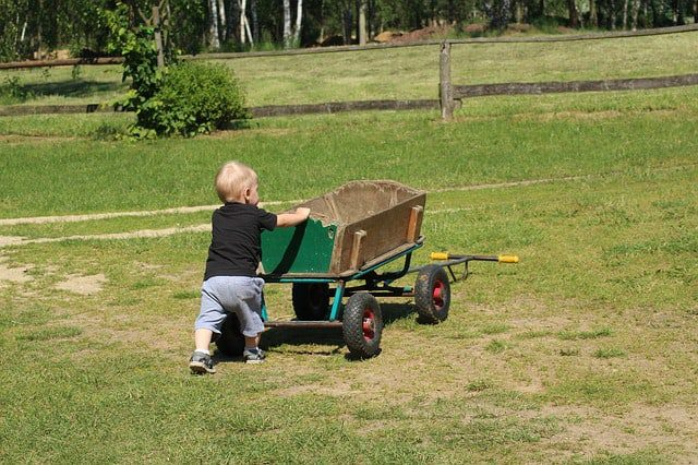a baby lawn mowing