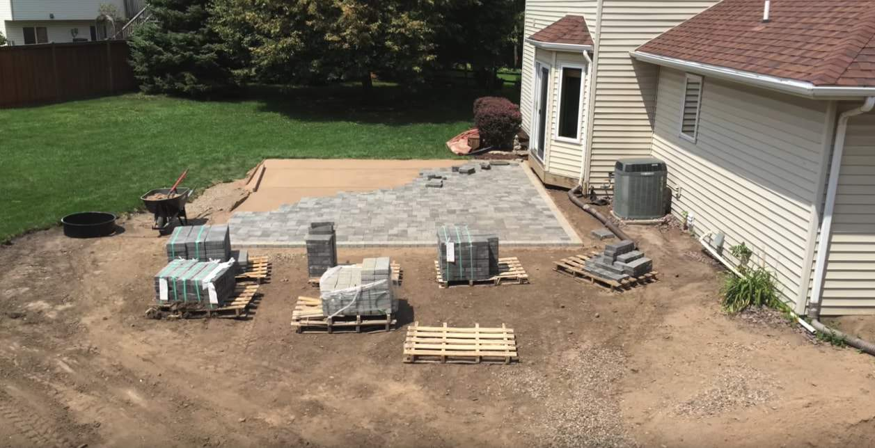 patio paving stones being installed by Bur-Han